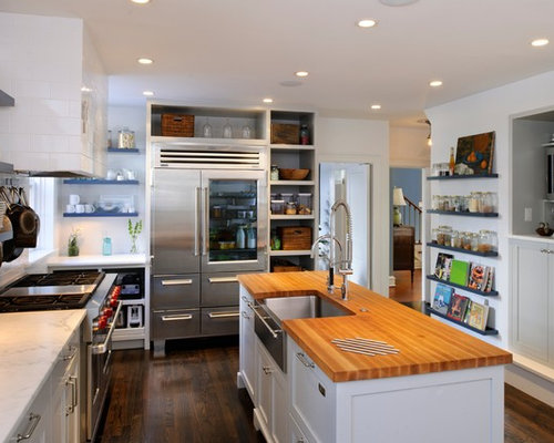 Mid-sized transitional l-shaped enclosed kitchen photo in Philadelphia ...