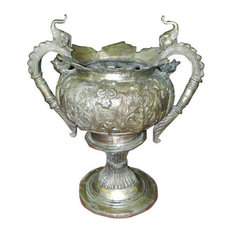 Mogul Interior - Consigned Intricately Carved Silver Finish Brass Planter - All of our items are one off pieces of lovely planters which have been lovingly restored to create the original pieces that we sell.