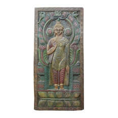 Mogul Interior - Consigned Indian Wall Panels Green Patina Abhaya Buddha Hand Craved Panel - Wall Decor