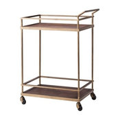 Threshold Wood and Brass Finish Bar Cart