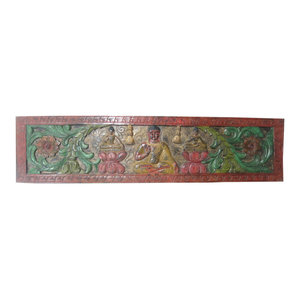Mogul interior - Consigned Decorative Buddha Headboard Carved Door India Solid Rustic Wood - Three forms of meditating Buddha seated in a triangle form on flower base hand carved wood India door wall panel.