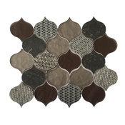"12""x12"" Panache Rain Drop Pattern Velvet Glass Mosaic, Set of 5"