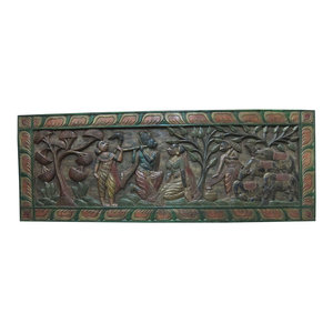 Mogul interior - Consigned Headboard Radha Krishna Gopis Carved Solid Wood Wall Panels Furniture - Bedroom Decor Krishna plying flute in front of the radha Carved scalloped top Headboard.