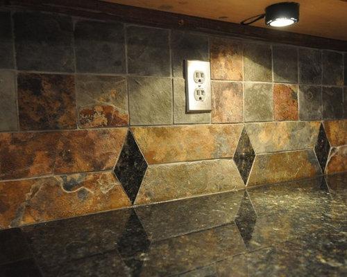 Multi Color Slate Backsplash Home Design Ideas Pictures Remodel And Decor