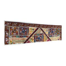 Mogul Interior - Consigned Multicolored Sari Mirror-Work Sequin Embroidered Tapestry - Table Runners