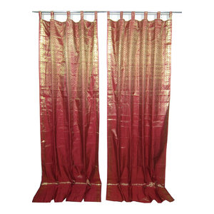 Mogulinterior - Indie Style Decor- 2 Red Maroon Gold Brocade Indian Sari Curtains Drapes Panels - Brocade Silk blend curtains actually gives a great impact to get the luxurious look of a room design.