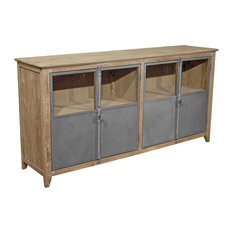 Chaucer Industrial Loft Limed Wood And Metal Sideboard