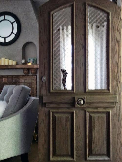 European style entry door in sandblasted red oak wood for European entry doors