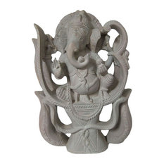Mogul Interior - Consigned Lord Ganesha Sitting In Trident Stone Statue - Decorative Objects And Figurines