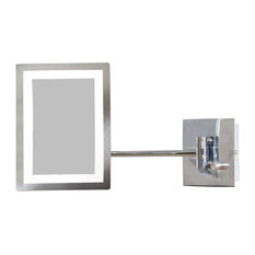 """Posh House - Rectangle Brass-LED Wall Mount Magnifying Mirror, Chrome, 6.25"""" - It features a ..."""