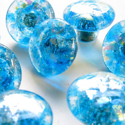 blue fused glass hardware knob pulls by Torch Lake Glass - Cabinet ...