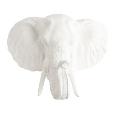 Taxidermy Faux Elephant Head Wall Mount White Wall Sculptures