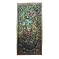 "Mogul Interior - Consigned Dancing Krishna Radha Teak Wood Wall Panel 72 X 36"" - Hand carved wall panels of Krishna and Radha dancing under the Kadambari tree on the double lotus flower base from India."