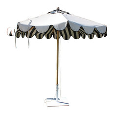 black and white striped outdoor umbrellas find patio