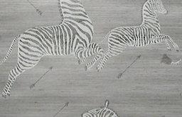 Zoe's Zebra Wallpaper, Grass Cloth, Gray Natural
