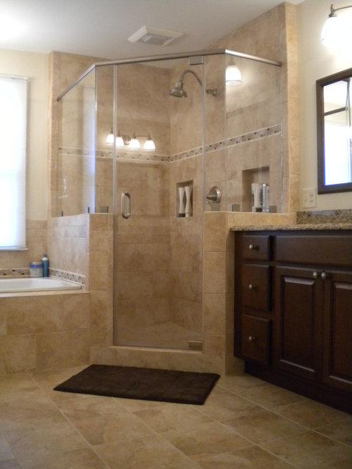 Salles de bains et wc avec un carrelage beige et un wc for Salle de bain avec wc separe