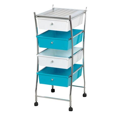 Storage Rolling Cart 4 Drawers Organizer Cart Metal Chrome White, Blue ...