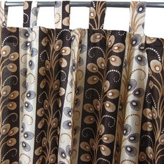 """Mogul Interior - Indian Sari Curtains Printed Tab Top Saree Drapes Window Panels- Pair, 48""""x96"""" - Our Printed Sari curtains actually gives a great impact to get the luxurious look of a room design and ideal for bedrooms, living rooms , home theaters etc."""