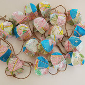 Popcorn Garland Upcycled From a Vintage Map by Granny Panty Designs