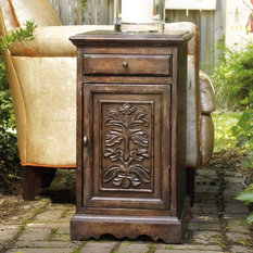 Nightstand - 638-50014 - Antiqued square nightstand with cabinet ...
