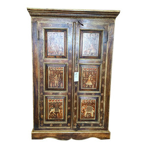 Antique Armoire Bar Storage Kitchen Cabinet Chest Painted Furniture $644.00 - http://www.mogulinterior.com/antique-armoire-bar-storage-kitchen-cabinet-chest-painted-furniture.html