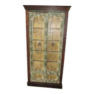 Mogul Interior - Consigned Antique Doors Cabinet Shabby Storage Armoire Rustic Handcrafted Chest - The cabinet comes from India and has 19century vintage doors, natural old patinas and beautiful rustic woods. The sides are crafted from old reclaimed mango wood.