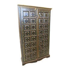 Mogul Interior - Antique Floral Pained Doors Reclaimed Rajasthan Black Armoire Wardrobe - Armoires And Wardrobes