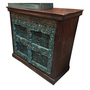 Mogul Interior - Vintage sideboard Traditional Hand Carved Wooden Storage Cabinate - The sideboard comes from India and are a 19 century vintage pieces.