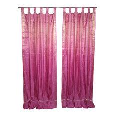 Mogulinterior - 2 Indian Sari Curtains Rose Pink Golden Brocade Silk Saree Drapes Window Panels - Brocade SARI Silk Blend