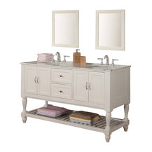 """J and J Vanities - 60"""" Pearl White Mission Turnleg Double Vanity Sink Cabinet w/Carrera White ..."""