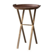 Threshold Wood and Brass Finish X-Base Accent Table