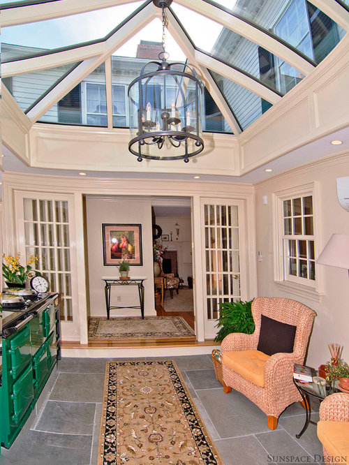 Sunroom design ideas renovations photos with a wood for Victorian sunroom