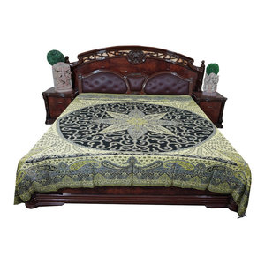 Mogul Interior - Mogul Boho Pashmina Bedspread Indian Bedding King Size - Wool Blends with Rayon