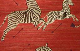 Zoe's Zebra Wallpaper, Grass Cloth, Red