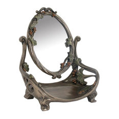 Us 11 Inch Art Nouveau Pewter Look Vanity Mirror Adorned