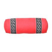 Coral Greek Key Bolster Pillow