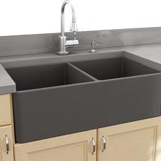 ... Sinks 33 Double Bowl Gray Fireclay Farmhouse Sink - Kitchen Sinks