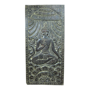 Mogul Interior - Antique Wood Carving Indian Wall Art Buddha Vitarka Teaching Door Panels Yoga - The Buddha seated on double lotus base hand carved vintage door panel from India.