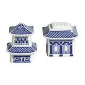 Blue Pagoda Salt & Pepper Shakers