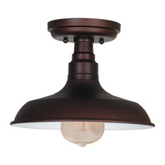 industrial flush mount ceiling lights houzz. Black Bedroom Furniture Sets. Home Design Ideas