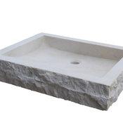 Chiseled Rectangular Natural Stone Vessel Sink, Beige Marble