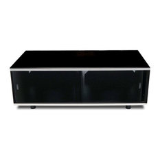"""Trans World - New Hampshire Media Stand, TV's Up to 42"""" - This stylish glass and aluminum ..."""