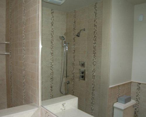 shower niche quartz Bathroom Design Photos with Plywood Floors