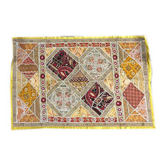 Mogul interior - Consigned Indian Wall Hanging Tapestry Hand Embroidered Throws - Sari tapestries are handmade from embroidered saris and Zardozi patches and are