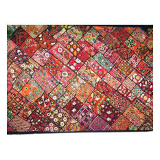 Mogul Interior - Wall Hanging Handmade Vintage Patchwork Sari Tapestry Indian Throw - Tapestries