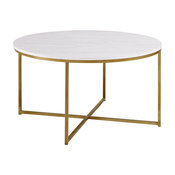 """36"""" Round Coffee Table With Metal X Gold Base, Marble/Gold"""