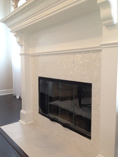 White Mother Of Pearl Minibrick Tile Contemporary