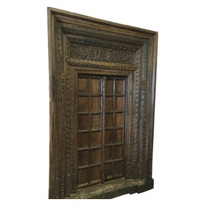 Mogul Interior - Consigned Antique Haveli Door entrance Solid Teak Wood Carved Indian Door - The Door comes from India and are a 18/19 century vintage pieces.