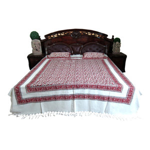 Mogul Interior - Cotton Tapestry Bedspreads White Maroon Floral Printed Indian Bedding - Handloom Cotton