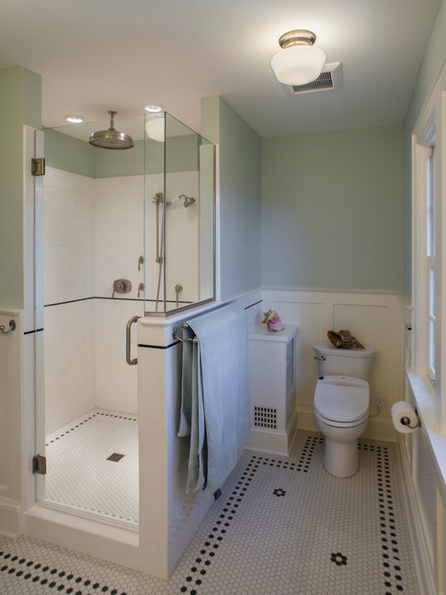Small Bathroom Design Ideas Remodels Photos With Black And White Tile And A Bidet